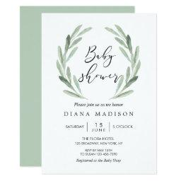 Rustic Green Olive Branch Wreath Baby Shower Invitation