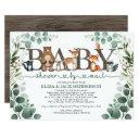 Rustic Greenery Woodland Baby Shower By Mail Invitation
