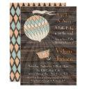 Rustic Hot Air Balloon Baby Shower Invitations
