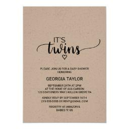 Rustic Kraft Calligraphy Twins Baby Shower