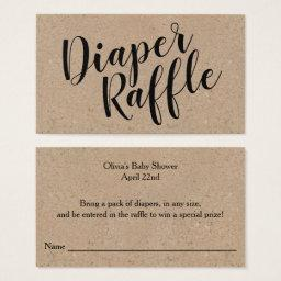 Rustic Kraft Diaper Raffle Ticket, Black Script