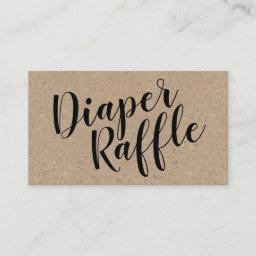 Rustic Kraft Diaper Raffle Ticket, Black Script Enclosure