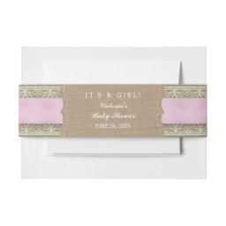 Rustic Pink Burlap and Lace  Belly Band