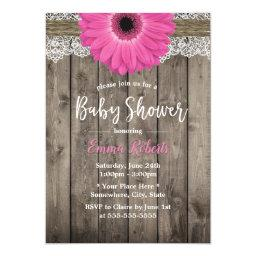 Rustic Pink Daisy Floral White Lace Baby Shower Invitation