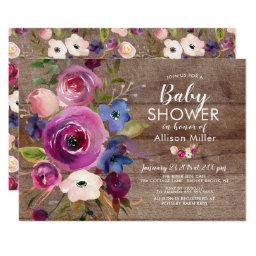 Rustic Plum Blue Floral Baby Shower