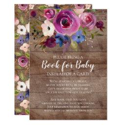 Rustic Plum Floral Baby Shower Book for Baby
