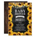 Rustic Sunflower Floral Chalkboard Baby Shower Invitation