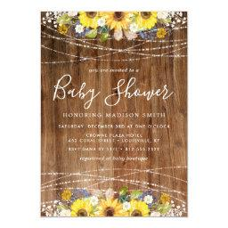 Rustic Sunflower String Lights Baby Shower Invitation