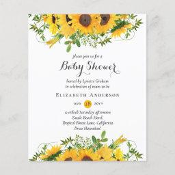 Rustic Sunflower Themed Baby Shower Invites Budget