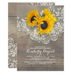 Rustic Sunflowers Wood Lace Baby Shower