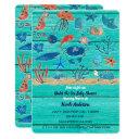 Rustic Teal Wood & Under The Sea Friends Whimsical Invitation