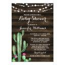 Rustic Watercolor Cactus Barn Wood Baby Shower
