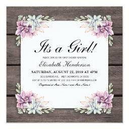 Rustic Watercolor Succulent Floral Baby Shower