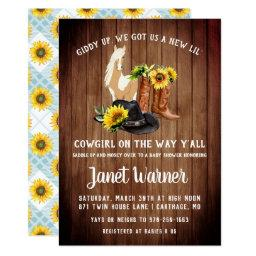 Rustic Western Sunflower Cowgirl Baby Shower Invitation