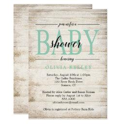 Rustic Wood Baby Shower Invitation, Mint Green
