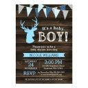 Rustic Wood Blue Deer Boy Baby Shower