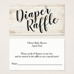 Rustic Wood Diaper Raffle Ticket, Black Script