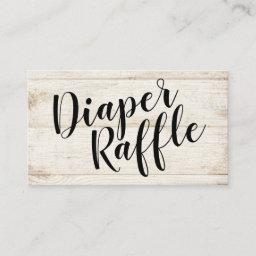 Rustic Wood Diaper Raffle Ticket, Black Script Enclosure