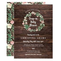 Rustic Wood Floral Drop In Girl Baby Shower Invite