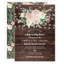 Rustic Wood Floral Lights Drop In Girl Baby Shower Invitation