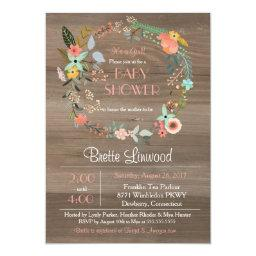 Rustic Wood, Floral Wreath Shabby Chic Baby Shower