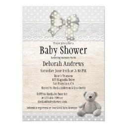 Bear baby shower invitations babyshowerinvitations4u rustic wood lace teddy bear baby shower filmwisefo Image collections