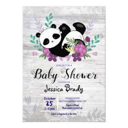 Rustic Wood Panda With Purple Flowers Baby Shower Invitation