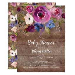 Rustic Wood Plum Floral Baby Shower