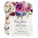 Rustic Wood Plum Floral Baby Shower Invitation
