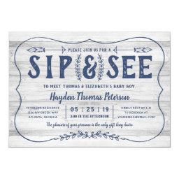 Rustic Wood Sip And See Baby Shower Invitation