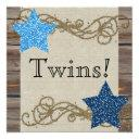 Rustic Wood Stars Twin Boy Baby Shower