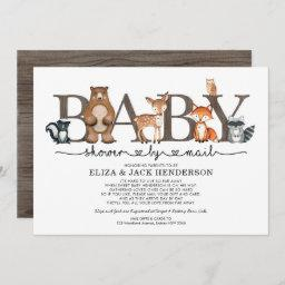 Rustic Woodland Animals Baby Shower By Mail Invitation