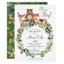 Rustic Woodland Animals Baby Shower Neutral Boy Invitation