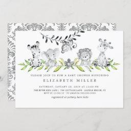 Safari Animals Neutral Baby Shower Invitation