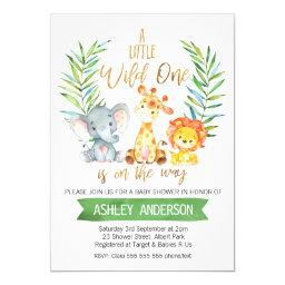 Safari Animals Watercolor Baby Shower Invitation