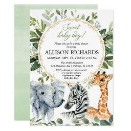 Safari Baby Shower, Sweet Baby Boy Jungle Animals Invitation