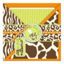 Safari Boy Orange Invitation Square