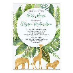 Safari Gender Neutral Green Gold Baby Shower Invitation