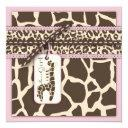 Safari Girl Invitations Square B