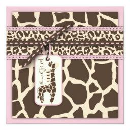Safari Girl Invitation Square B