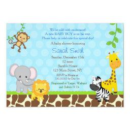 Safari Jungle Animals Baby Shower  Boys