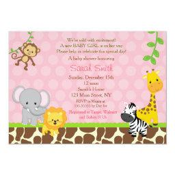 Safari Jungle Animals Baby Shower  Girl