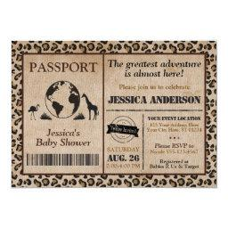 Safari Passport Baby Shower Invitations