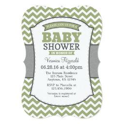 Sage Olive Gray Chevron Baby Shower Invitation