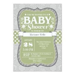 Sage Olive Green Gray Floral Baby Shower Invite