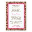 Sassy Pink Leopard Print Baby Shower Invitationss