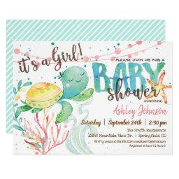 Sea Turtle Ocean Baby Shower Invitation, Girl Invitation