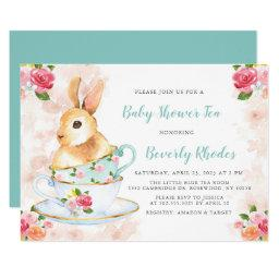 Shabby Chic Bunny Baby Shower Tea Party Invitation