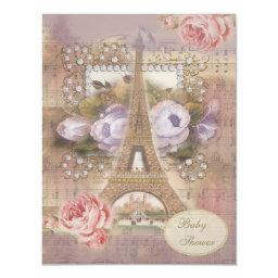 Shabby Chic Eiffel Tower Floral Baby Shower