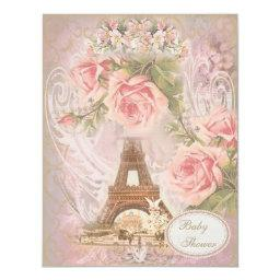Shabby Chic Eiffel Tower Pink Floral Baby Shower Invitations